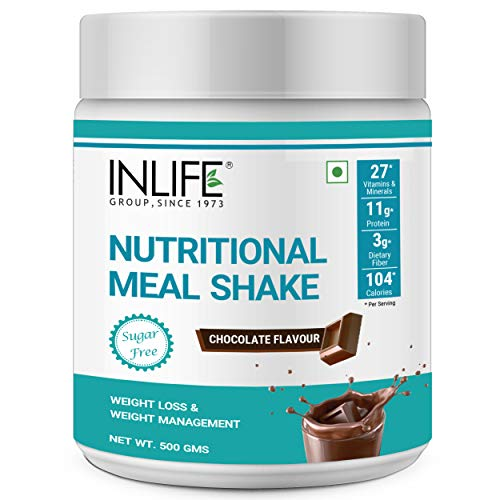 INLIFE Nutritional Meal Shake, Men Women, Meal Replacement Protein Shake with Weight Management Ayurvedic Herbs, 11g Protein, 0g Added Sugar (500g 16 Servings) (Chocolate)