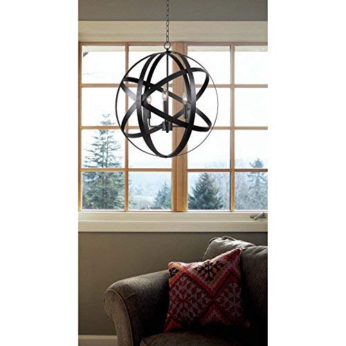 Kenroy Home 93553 Global 3 Light Pendant 26.5 Inch Height, 24 Inch Diameter Black Finish