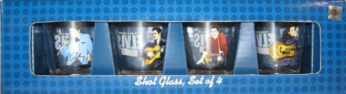 Elvis Presley Set of 4 Shot Glasses in 4 Different Poses with Elvis Logo on Back of Each