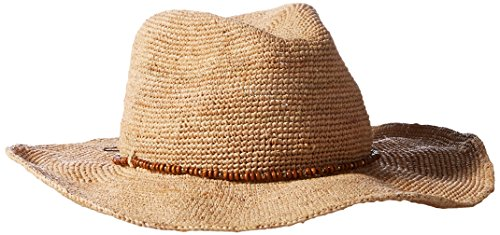 Hat Attack Women's Raffia Crochet Cowboy Hat with Wood Bead Trim