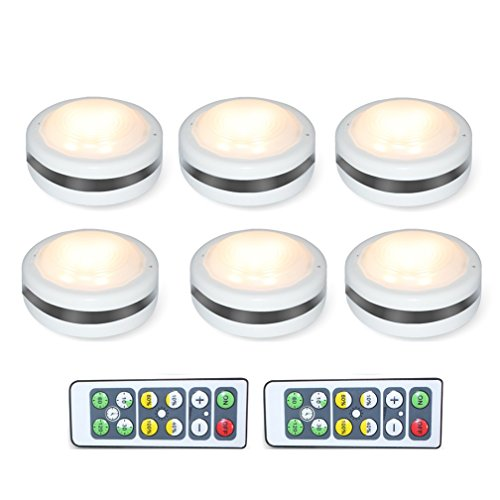Shineled Wireless LED Puck Lights,Under Cabinet Lighting with Remote Control,Battery Powered Dimmable Brightness Closet Lights for Hallway,Bedroom,Kitchen,Warm White 6 Pack(Batteries not Included)