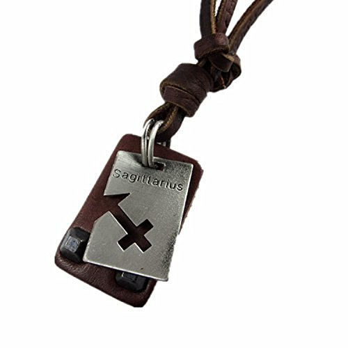 YSW Sagittarius Brown Leather and Alloy Pendant Adiustable Necklace Mens Necklace Unisex Necklace Cool Necklace