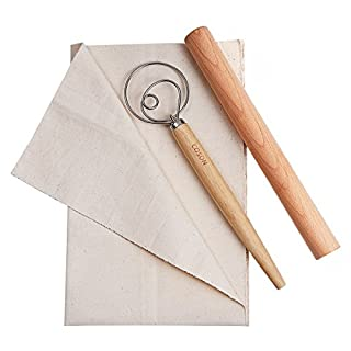 """Pastry Baking Tools Set Wooden Rolling Pins 12"""" Danish Dough Whisk Hand Mixer 13.5"""" Baker's Couche Flax Linen Proofing Cloth 18""""x29.5"""" for Making Baguettes Bread Cake Pizza (Wood, X-Large)"""