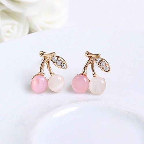 Cherry Rhinestone Ear Stud Crystal for Women Girls Wedding Earring Jewelry
