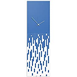 Surreal Wall Clock 'Blue Pixelated Clock-White Hands' by Adam Schwoeppe - Techy Style Decor Abstract Accent Piece on Acrylic