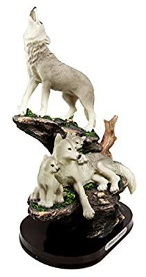 """Atlantic Collectibles Moon Howling Timberwolves Wolf Pack Family Decorative Figurine 8.5""""H"""