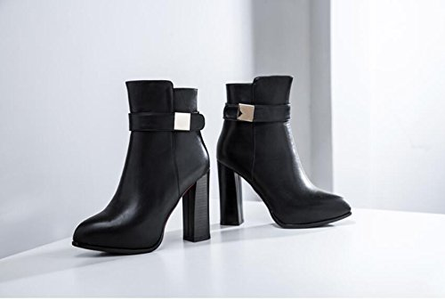 HGTYU-Autumn And Winter Women'S Shoes Women'S Singles Shoes Waterproof 10.5Cm Thick Tip And Ultra High With Martin Boots Belt Buckle Boots Black CTKBub7