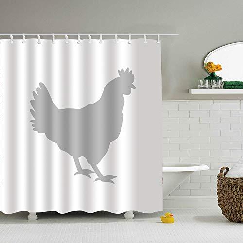 Decor Shower Curtain Rooster Chicken Bird Cock Polyester Fabric Bathroom Shower Curtain Set 79 X 72 Inch