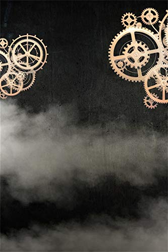 AOFOTO 6x9ft Gold Gears on Black Background Abstract Backdrop Metallic Mechanical Gear Birthday Party Events Decoration Wallpaper Steampunk Halloween Themed Photo Studio Props Vinyl