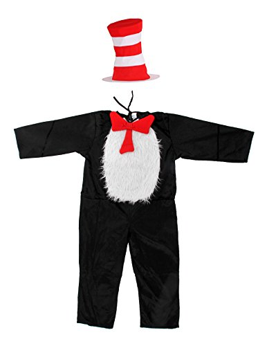 Children's Character Costumes (Dr. Seuss Cat in the Hat Kids (S, 4-6) Costume Jumpsuit with Hat,)