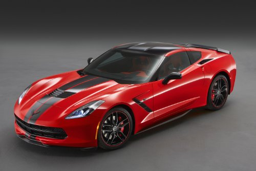 "Chevrolet Corvette (C7) Stingray Coupé Pacific Concept (2014) Car Art Poster Print on 10 mil Archival Satin Paper Red Front Side Studio View 17""x11"""