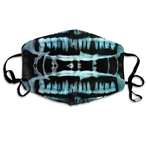 Anti-Allergens Flu Dust Face Masks, Earloop Half Face Mask for Women Men, Travel Hiking Face and Nose Cover with Adjustable Elastic Strap - Halloween Spooky Skeleton Teeth