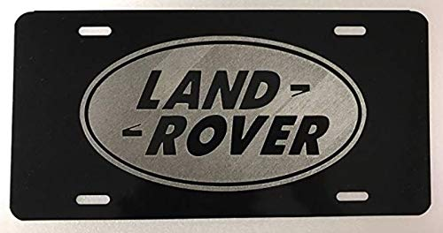 Land Rover Logo Inspired Laser Engraved/Etched Logo License Plate Vanity Car Tag Gloss black
