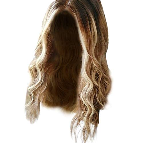 (Molyveva Fashion Lady Wig, Big Wavy Long Curly Hair Jumps in The Middle, Ombre Blonde, Feels Very Like Human Hair Lolita Cosplay Costume Party)