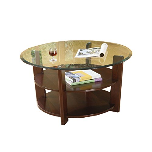 3 Pc. Set Solid Wood Coffee Table with 2 End Tables 8mm Beveled Glass Top with Two Shelves in Espresso Finish by H-M SHOP
