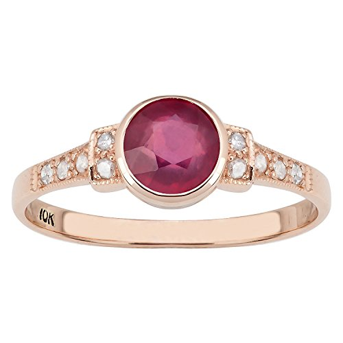 Ruby Antique Style Ring - 10k Rose Gold Vintage Style Genuine Round Ruby and Diamond Ring