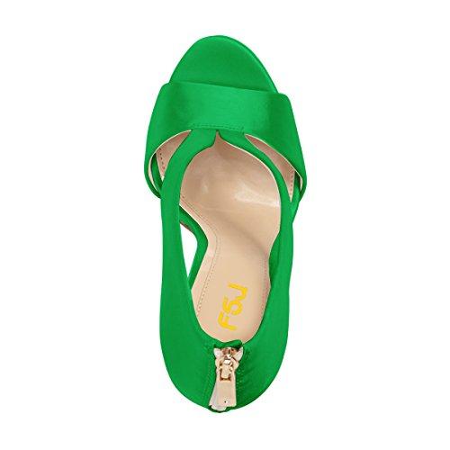 FSJ Women Cocktail Satin Heeled Sandals Peep Toe High Stilettos Bridal Wedding Shoes Size 4-15 US Green mxuWKVhJ