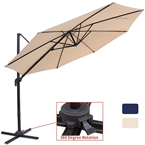 Patio Offset Cantilever Umbrella 10-Feet Outdoor Patio Hanging Umbrella,360 Degree Rotation with Cross Base (10 FT, Beige) ()