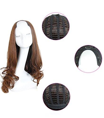 BESTLEE U Part Long Heat Resistant Clip On Wig Semi Wig Mono Hair Topper (Curly, Light Brown) - Mono Half Wig