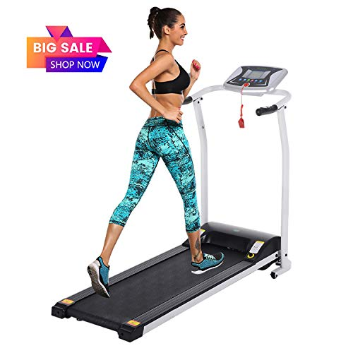 Folding Electric Treadmill Incline Motorized Running Machine Smartphone APP Control for Home Gym Exercise (Z 1.5 HP - White - Not with APP Control- Not Incline.) (Treadmills Under $300 Electric)
