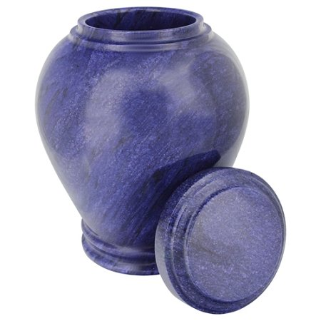 Silverlight Urns Cobalt Marble Cremation Urn, Blue Stone Funeral Urn- Vase Shaped with Lid, 10.5 Inches Tall