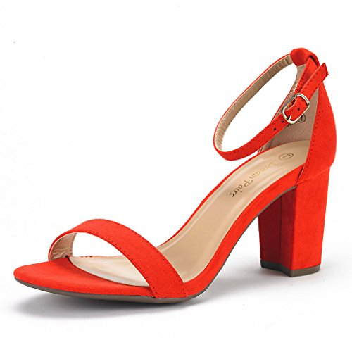DREAM PAIRS Women's Chunk Red Suede Low Heel Pump Sandals - 7.5 M US