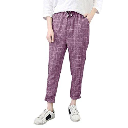 Sunbona Women Wide Leg Pants, High Waist Striped Cotton Linen Elastic Waist Casual Loose Trousers (Pink, L)