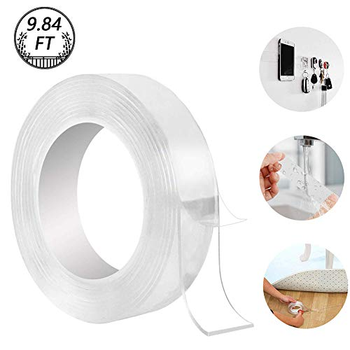 Washable Adhesive Tape, Hompie 9.84FT Traceless Reusable Clear Double Sided Anti-Slip Nano Gel Pads,Removable Sticky Transparent Strips Grip for Glass, Metal, Kitchen Cabinets or Tile Nano Tape -3M ()