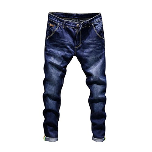 NEARTIME Men Slim Jeans, Fashion Men's Autumn Casual Vintage Denim Hip Hop Work Trousers Washed Straight Pants