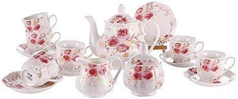 fanquare 15 Piezas Juegos de T/é de Porcelana con Flores Azules Servicio de T/é de Boda para Ni/ña Vintage Juego de Caf/é Inglesa