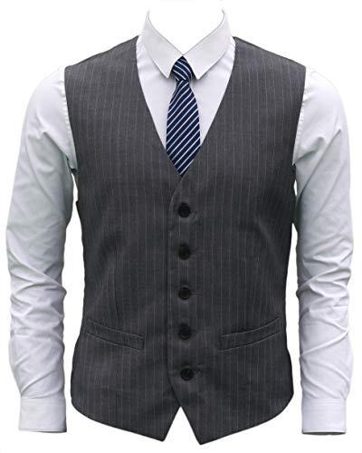 Ruth&Boaz Men's 2Pockets 5Button Pin Stripe Business Suit Vest (L, Charcoal Pin Stripe)