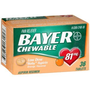 Bayer Low Dose Baby Aspirin For Adult Use chewable orange 6 boxes of 36 = 216 tablets