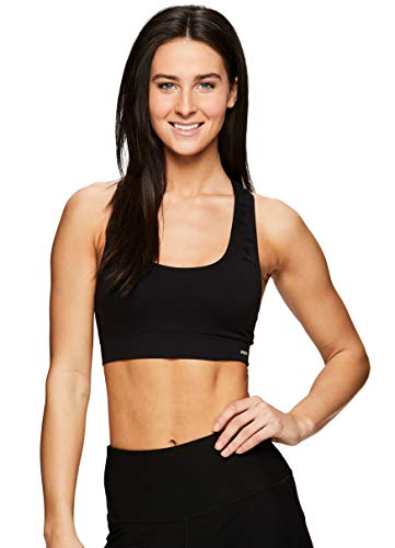 RBX Active Women's Floral Printed Low Impact Seamless Sports Bra Floral Black L (Discount Sports Bras)