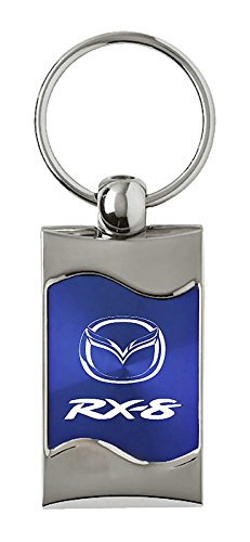 Mazda RX8 Rectangular Blue Car Key Chain Ring Fob INC Au-Tomotive Gold