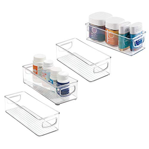mDesign Stackable Plastic Storage Bin Caddy with Handles - Organizer for Vitamins, Supplements, Serums, Essential Oils, Medical and First Aid Supplies - 3 High, 4 Pack - Clear