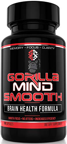 Gorilla Mind Smooth Nootropic Formula – Intense Focus · Productivity · Mental Clarity · No Jitters - DMAE, Alpha GPC, TeaCrine, Bacopa Monnieri, L-Theanine & More - 90 Capsules