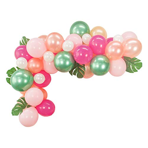 40pcs DIY Balloon Garland Hawaiian Party Summer Tropical Theme Party Decor Palm Leaves Pink Rose Gold Rose Red Green Balloons Garland Perfect for Baby Shower Bridal Shower Birthday Party -