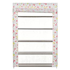 5-Tier Shoe Rack 15 Pairs Shoes Storage Organizer Cabinet with Dust-proof Non-woven Fabric Cover Multicolor
