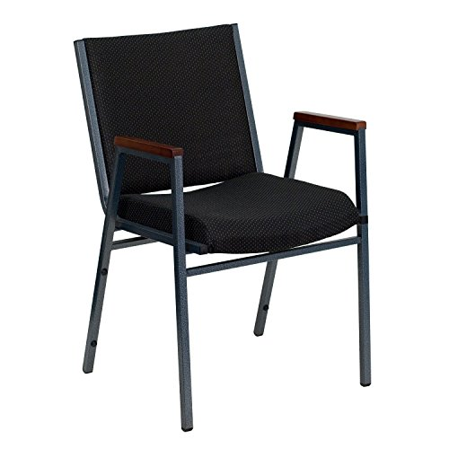 HERCULES Series Heavy Duty, 3'' Thickly Padded, Upholstered Stack Chair with Arms Black Patterned/Fabric (Upholstered Square Back Stacking Chairs)