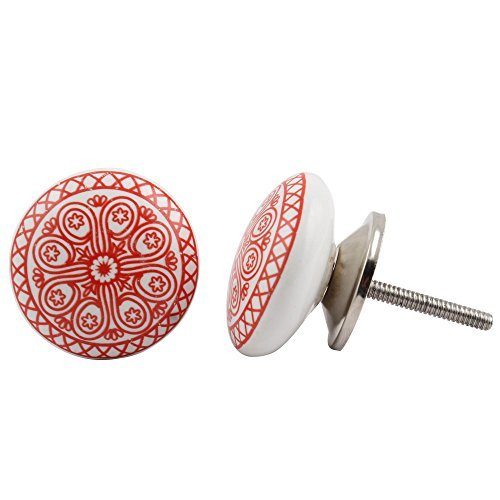 Set of 12 Pieces Metal & Ceramic Red Daisy Cabinet Knobs & Pulls Handmade Designer Silver Finish
