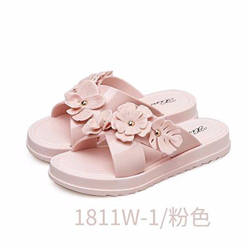 LIUXINDA-XZ Nuevos Productos de Moda española Las Mujeres en Verano Llevar Zapatillas de Espesor del Suelo, de Fondo Plano, el Calzado Nuevo modische Mujeres, Zapatillas. Rosa.