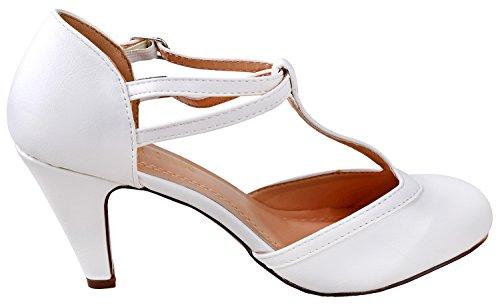 T Strap Mary 58 White Kimmy Chloe Round Toe amp; Pump Women's Jane Chase gSZq08wZ