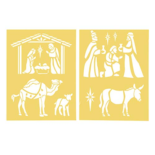 Darice 30018437 8.5X11 Stencil 2Pk Nativity Scene]()