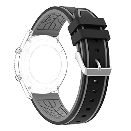 Gear S3 Frontier/Classic Watch Band, Rosa Schleife 22mm Silicone Watch Replacement Band with Stainless Steel Clasp Buckle for Samsung Gear S3 Frontier/Gear S3 Classic (NOT Include Connection Adapter) (Watch Fan Gear)