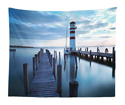 Ambesonne Maritime Tapestry King Size, Calm Ocean at Sunrise Wooden Rustic Pier and Lighthouse Picture, Wall Hanging Bedspread Bed Cover Wall Decor, 104