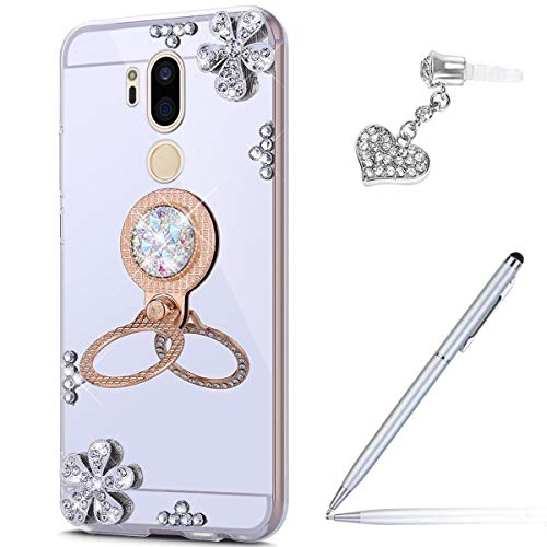 Price comparison product image ikasus Case for LG G7 Diamond Case, Crystal Inlaid diamond Flowers Rhinestone Diamond Glitter Bling Mirror Back TPU Case & Ring Stand + Touch Pen Dust Plug for LG G7 Mirror Case, Silver