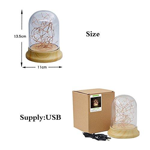 Genkent Glass Lampshade Desk Lamp DIY Warm Night Light Led Wood Base Table Lamp Lighting Fixtures
