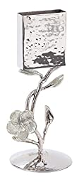 Classic Touch JSH09S Hammered Stainless Steel Havdalah Candle Holder Silver