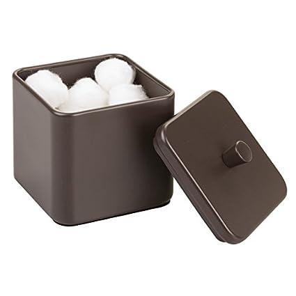mDesign Algodonero – Caja metálica para guardar hisopos y productos de algodón – Cajas organizadoras con