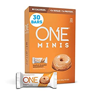 ONE Minis Maple Glazed Doughnut Protein Energy Bar, 80 Calorie Snack with Less Than 1g Sugar, Post Workout Snack.78 oz. (30 Pack)
